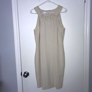 Cream Cocktail Dress with Pearl Accents